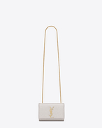 CLASSIC SMALL MONOGRAM SAINT LAURENT SATCHEL IN Pale Gold Grained Metallic Leather