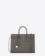 Classic Small Sac De Jour Bag in Earth Crocodile Embossed Leather