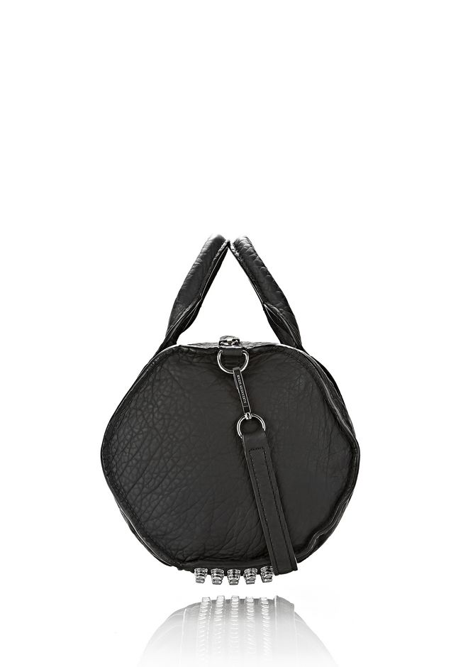 ALEXANDER WANG INSIDE OUT ROCCO IN BLACK RUBBER LAMINATED Shoulder bag Adult 12_n_e