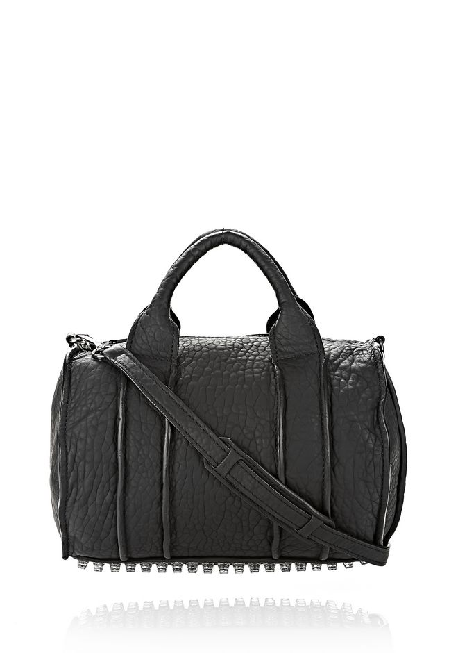 ALEXANDER WANG INSIDE OUT ROCCO IN BLACK RUBBER LAMINATED Shoulder bag Adult 12_n_f