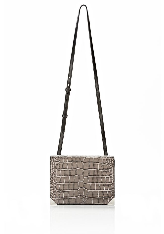 ALEXANDER WANG PRISMA DOUBLE ENVELOPE IN EMBOSSED OYSTER