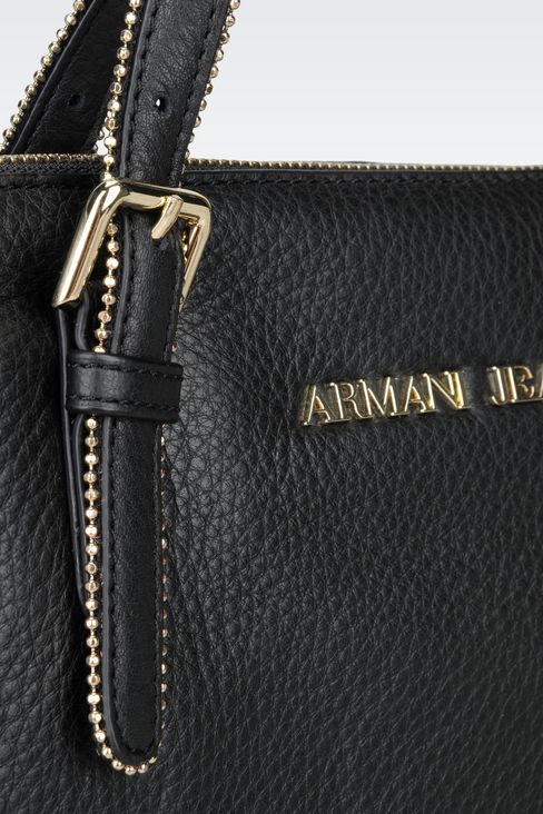 LEATHER TOTE WITH STUDS: Shoppers Women by Armani - 4