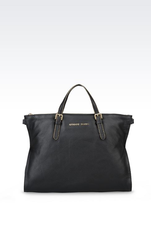 LEATHER TOTE WITH STUDS: Shoppers Women by Armani - 1