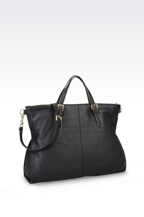 LEATHER TOTE WITH STUDS: Shoppers Women by Armani - 2