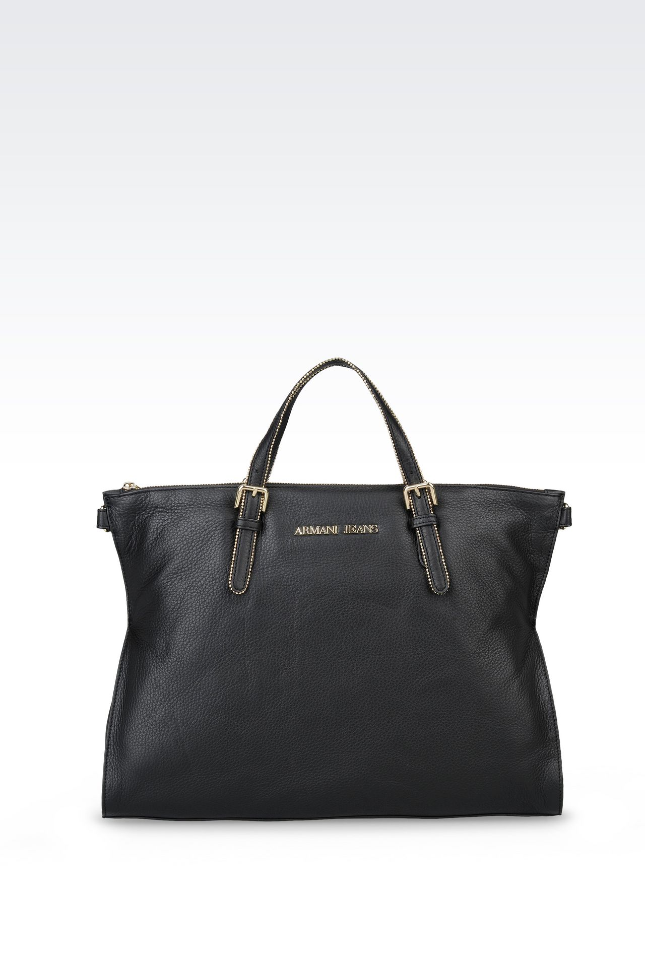 LEATHER TOTE WITH STUDS: Shoppers Women by Armani - 0