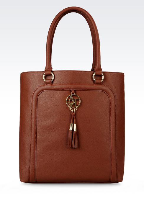 SHOPPING BAG IN FAUX SAFFIANO WITH TASSELS: Shoppers Women by Armani - 1