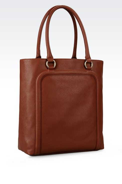 SHOPPING BAG IN FAUX SAFFIANO WITH TASSELS: Shoppers Women by Armani - 2