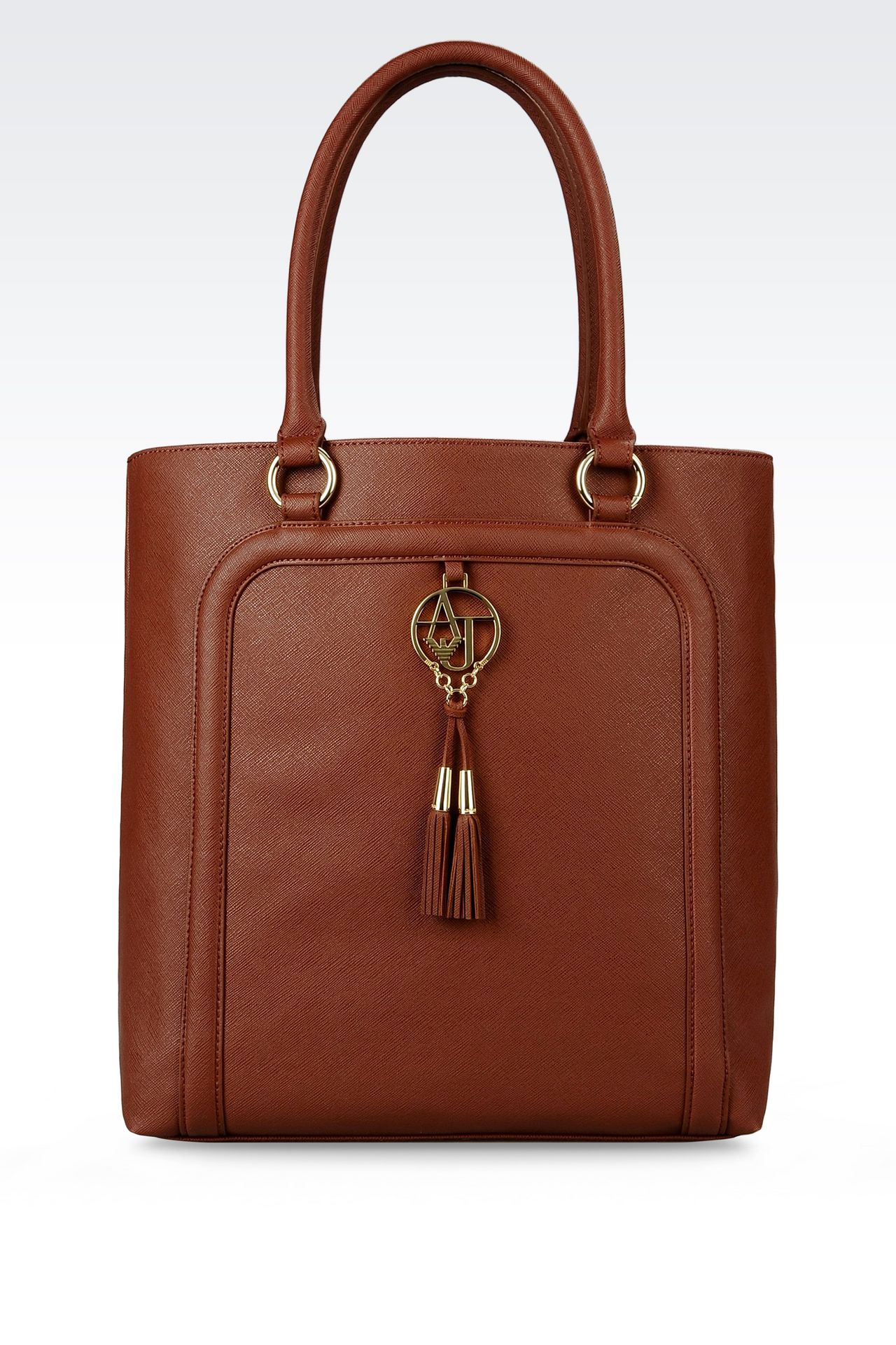 SHOPPING BAG IN FAUX SAFFIANO WITH TASSELS: Shoppers Women by Armani - 0