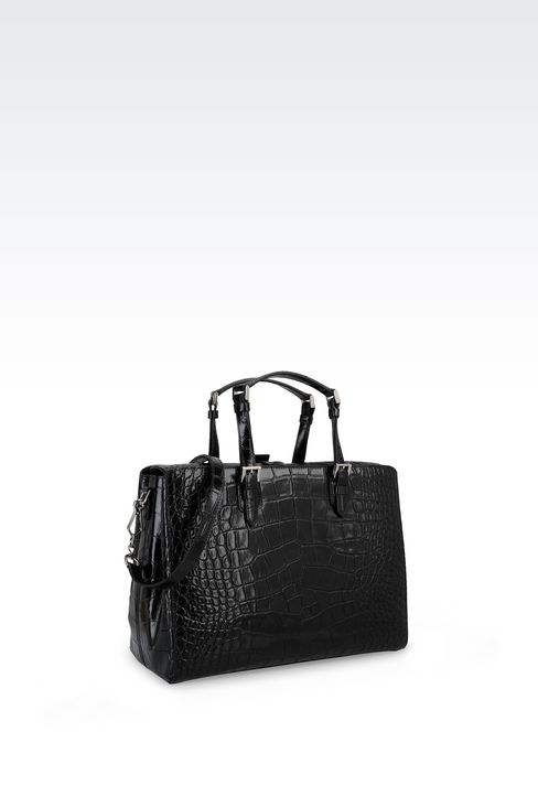 HANDBAG IN CROC PRINT CALFSKIN: Top handles Women by Armani - 2
