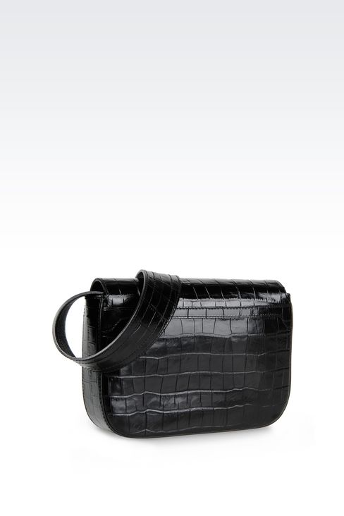 SHOULDER BAG IN CROC PRINT CALFSKIN: Messenger bags Women by Armani - 2