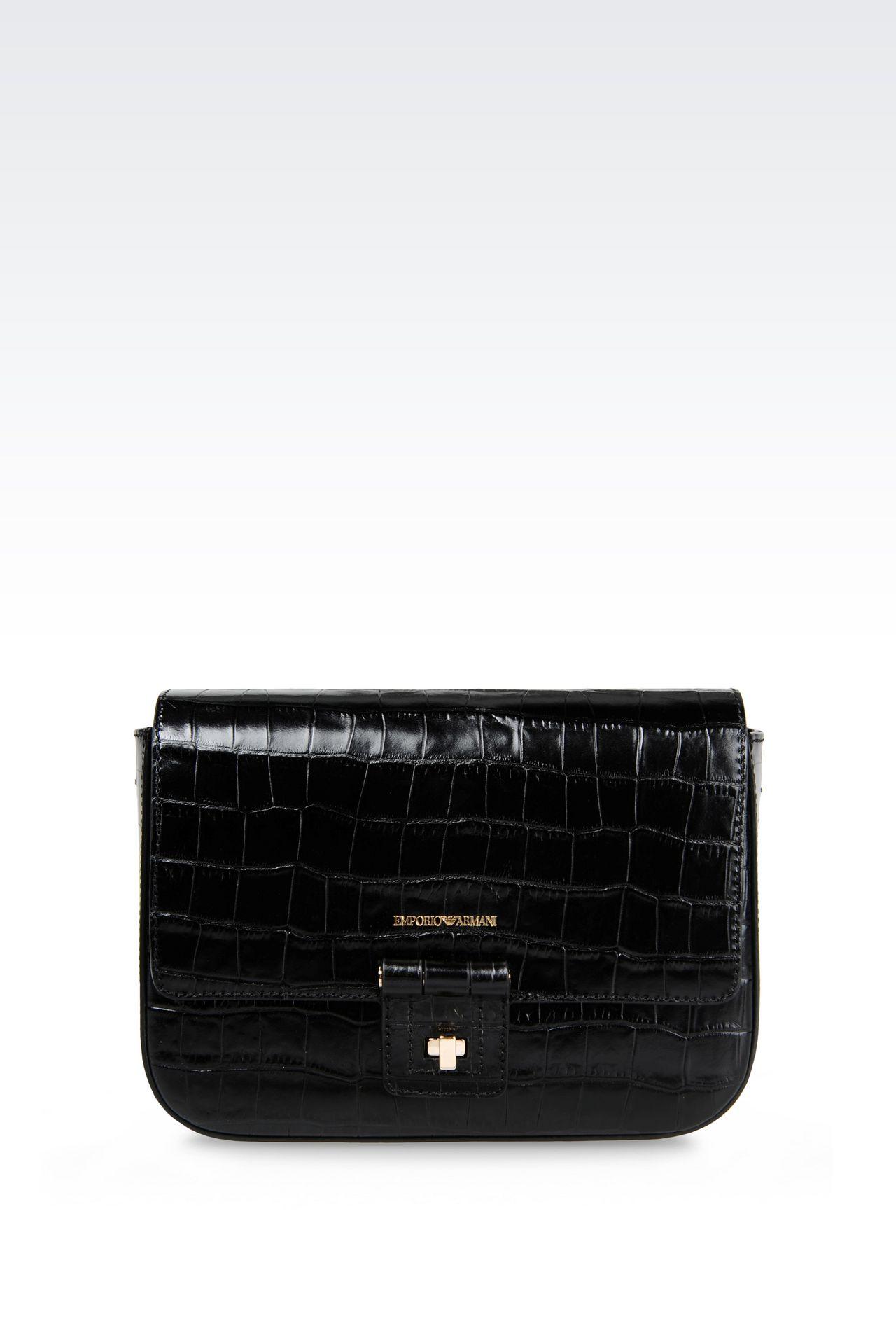 SHOULDER BAG IN CROC PRINT CALFSKIN: Messenger bags Women by Armani - 0