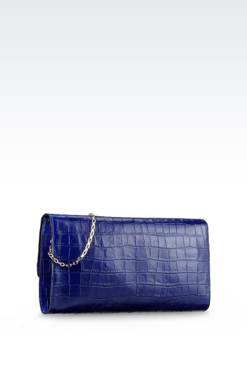 CLUTCH IN CROC PRINT CALFSKIN WITH SHOULDER STRAP: Pochettes Women by Armani - 2