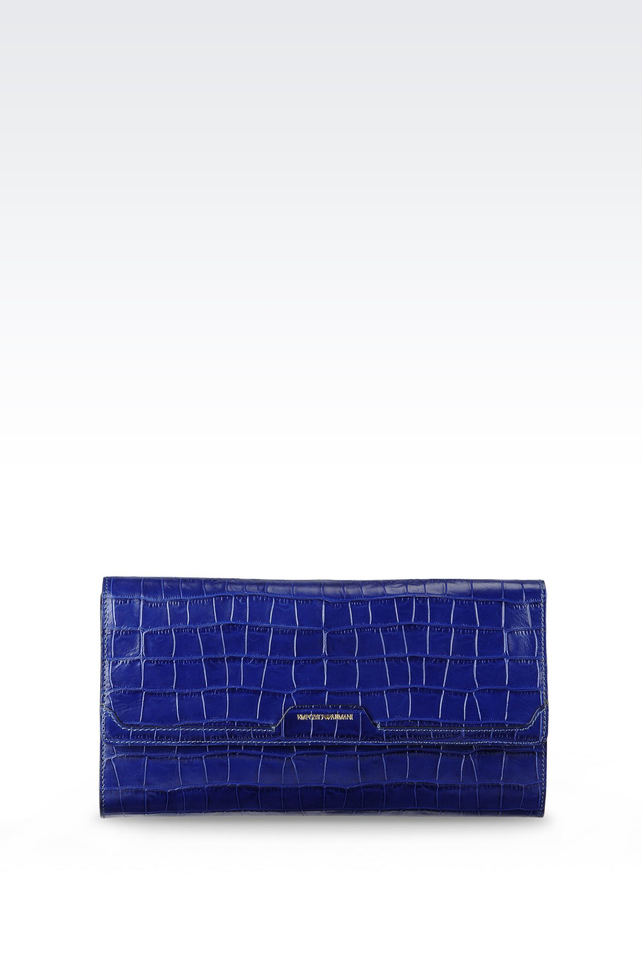 CLUTCH IN CROC PRINT CALFSKIN WITH SHOULDER STRAP: Pochettes Women by Armani - 0