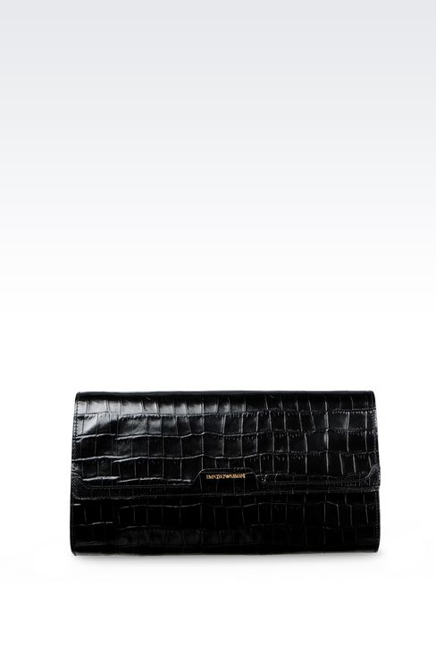 CLUTCH IN CROC PRINT CALFSKIN WITH SHOULDER STRAP: Pochettes Women by Armani - 1