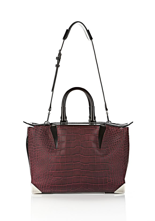 ALEXANDER WANG PRISMA SKELETAL SATCHEL IN BEET
