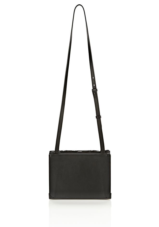 ALEXANDER WANG PRISMA SKELETAL DOUBLE ENVELOPE IN PONY WITH MATTE BLACK CLUTCH Adult 12_n_e