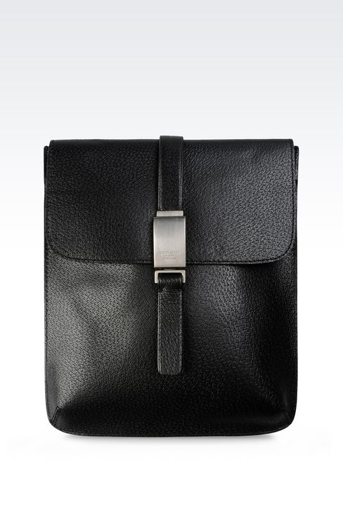 SHOULDER BAG IN WILD BOAR: Messenger bags Men by Armani - 1
