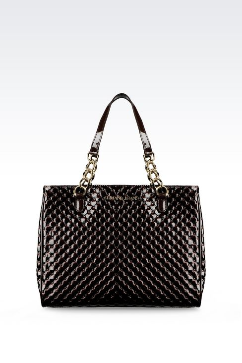 SHOPPING BAG IN PATENT LEATHER: Shoppers Women by Armani - 1