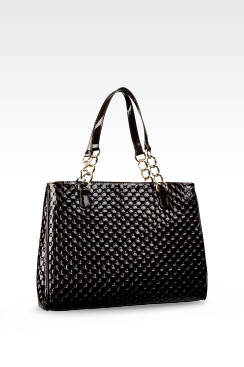 SHOPPING BAG IN PATENT LEATHER: Shoppers Women by Armani - 2