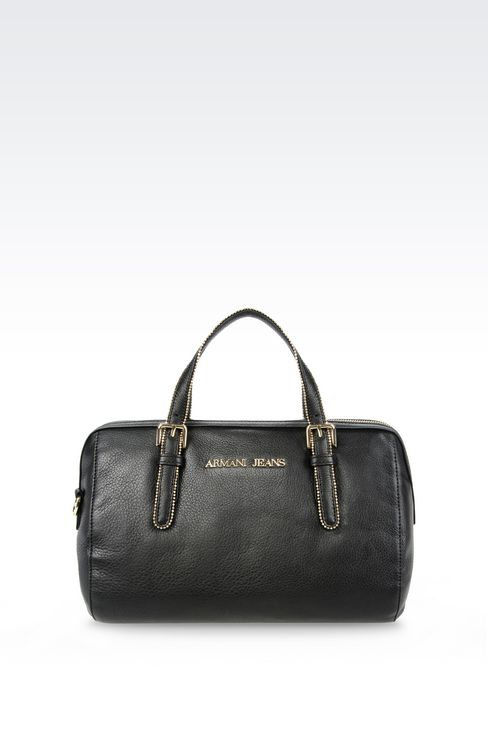 LEATHER BAULETTO BAG WITH STUDS: Top handles Women by Armani - 1