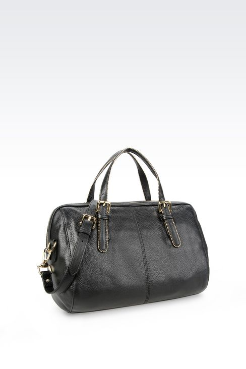 LEATHER BAULETTO BAG WITH STUDS: Top handles Women by Armani - 2