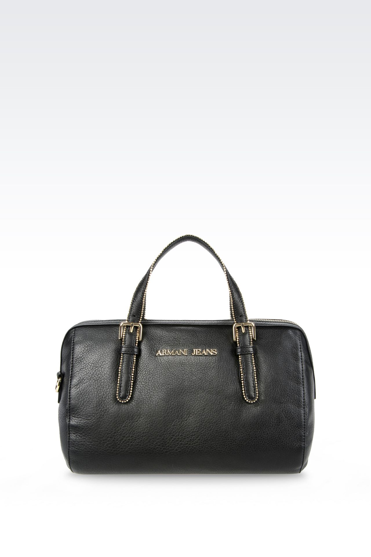 LEATHER BAULETTO BAG WITH STUDS: Top handles Women by Armani - 0