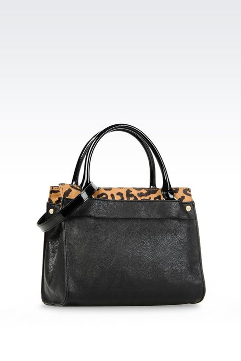 SHOPPING BAG IN TUMBLED FAUX LEATHER WITH ANIMAL DESIGN: Shoppers Women by Armani - 2