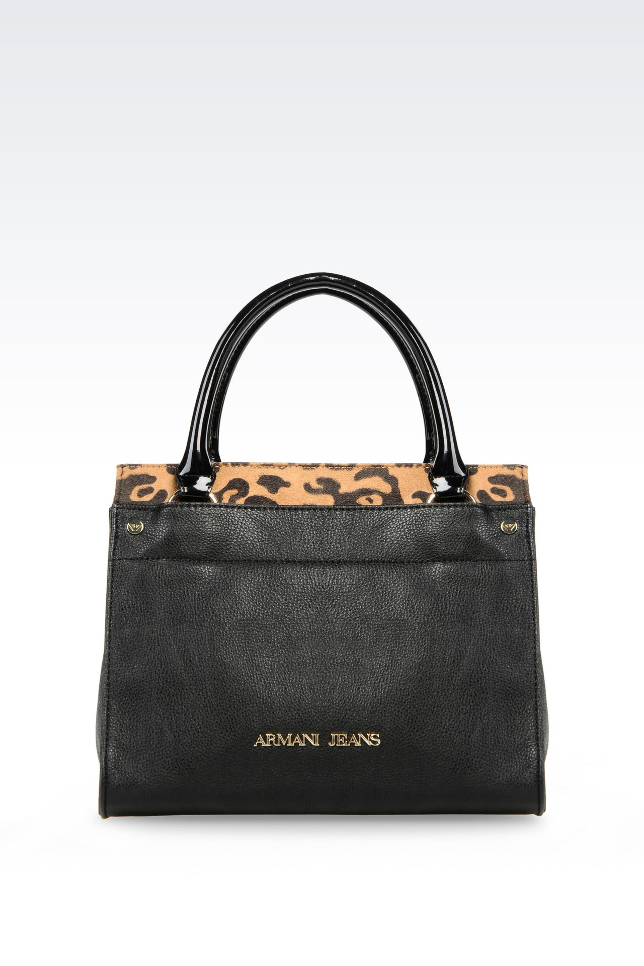 SHOPPING BAG IN TUMBLED FAUX LEATHER WITH ANIMAL DESIGN: Shoppers Women by Armani - 0