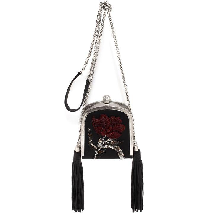 Alexander McQueen, Tulip Embroidery Tassel Skull Clutch