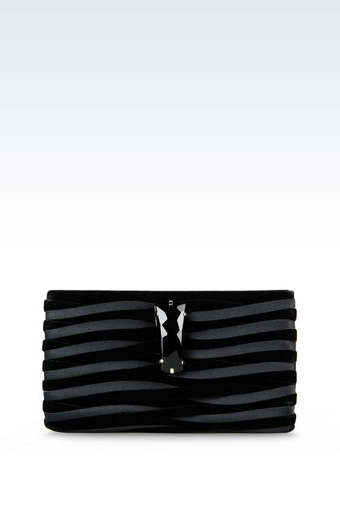 CLUTCH IN VELVET AND CUPRO: Clutch bags Women by Armani - 1