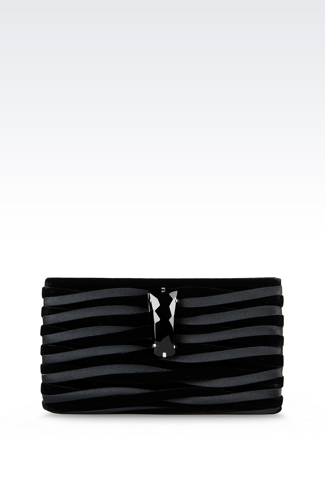 CLUTCH IN VELVET AND CUPRO: Clutch bags Women by Armani - 0