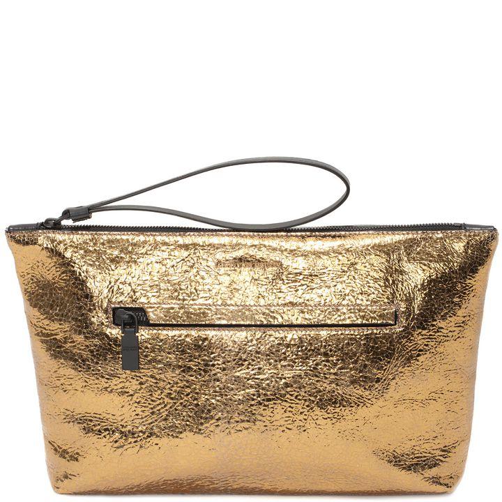 Alexander McQueen, Metallic Leather Zipped Pouch