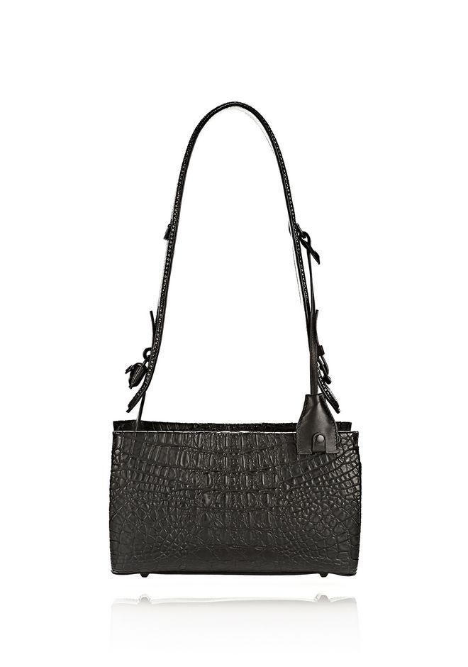 ALEXANDER WANG PELICAN SLING IN EMBOSSED MATTE BLACK WITH MATTE BLACK