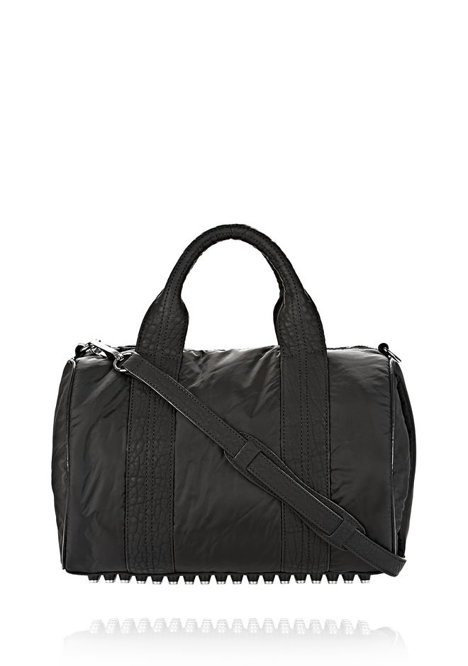 ALEXANDER WANG EXCLUSIVE ROCCO SATCHEL IN BLACK NYLON WITH RHODIUM