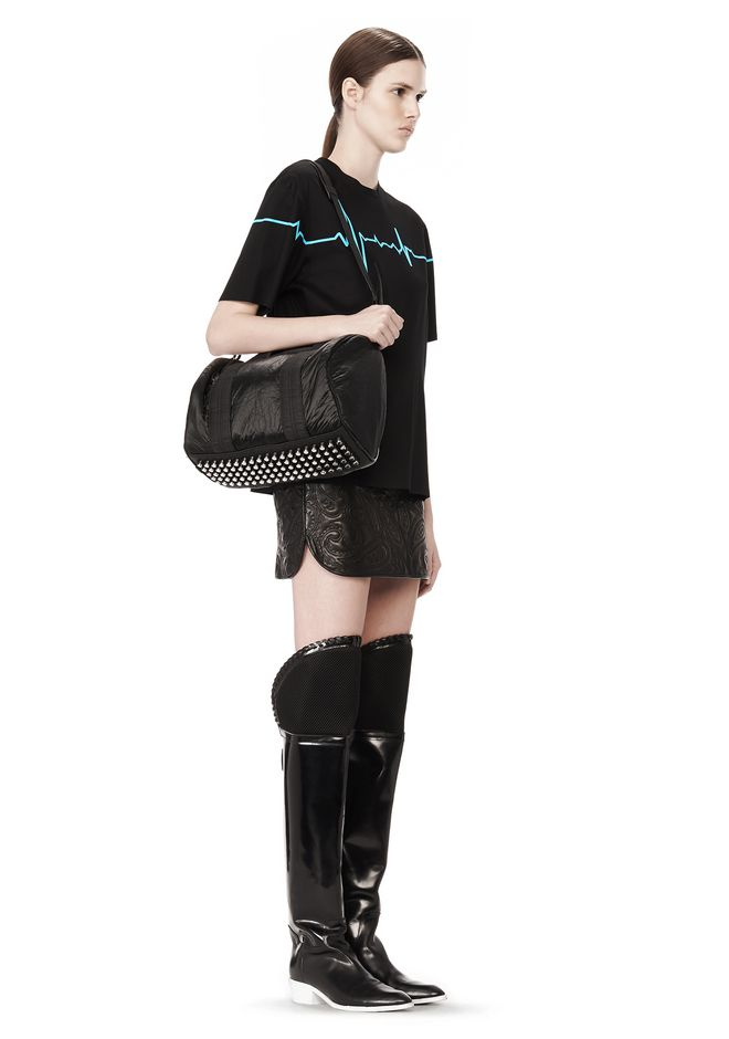 ALEXANDER WANG EXCLUSIVE ROCCO SATCHEL IN BLACK NYLON WITH RHODIUM Shoulder bag Adult 12_n_r