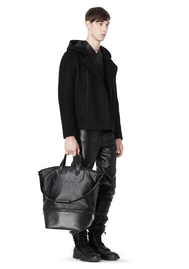 ALEXANDER WANG EXPLORER TOTE IN SHINY BLACK NYLON WITH MATTE BLACK Travel Adult 12_n_r