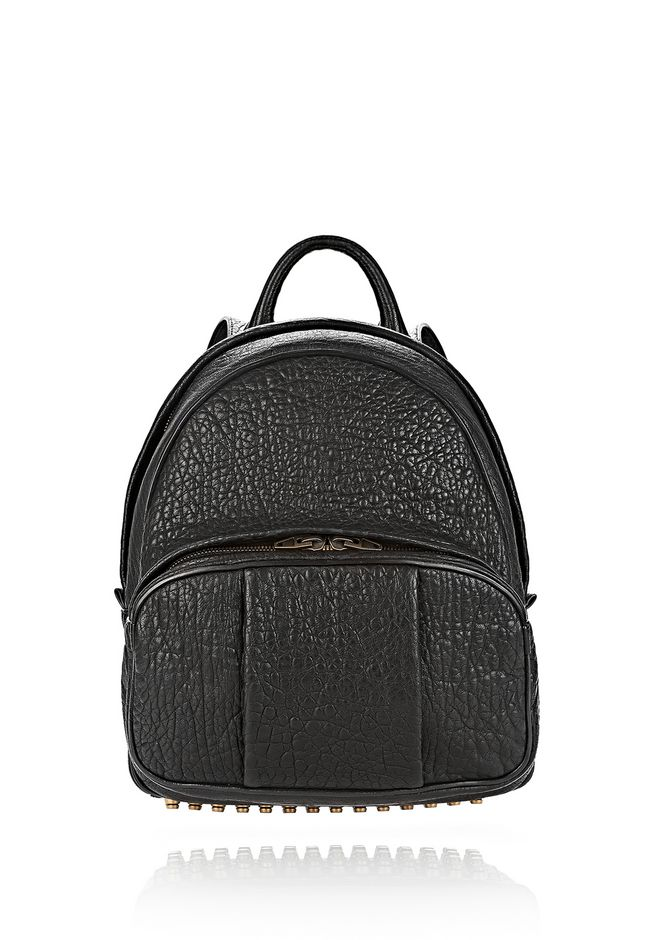 ALEXANDER WANG DUMBO BACKPACK IN PEBBLED BLACK WITH ANTIQUE BRASS