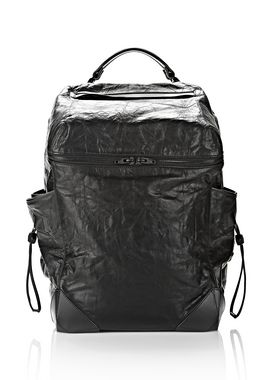 WALLIE BACKPACK IN WAXY BLACK WITH MATTE BLACK