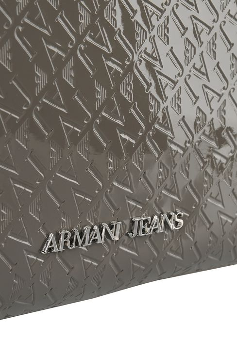 SHOPPING BAG IN PATENT FAUX LEATHER WITH ALL OVER LOGO: Shoulder bags Women by Armani - 4