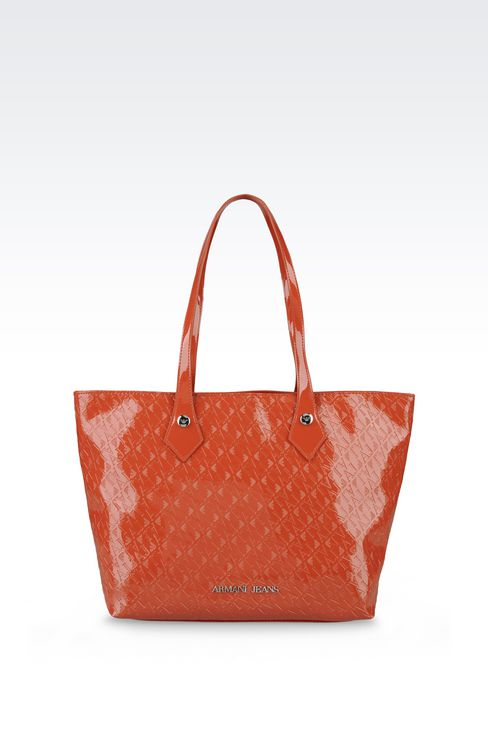 SHOPPING BAG IN PATENT FAUX LEATHER WITH ALL OVER LOGO: Shoulder bags Women by Armani - 1
