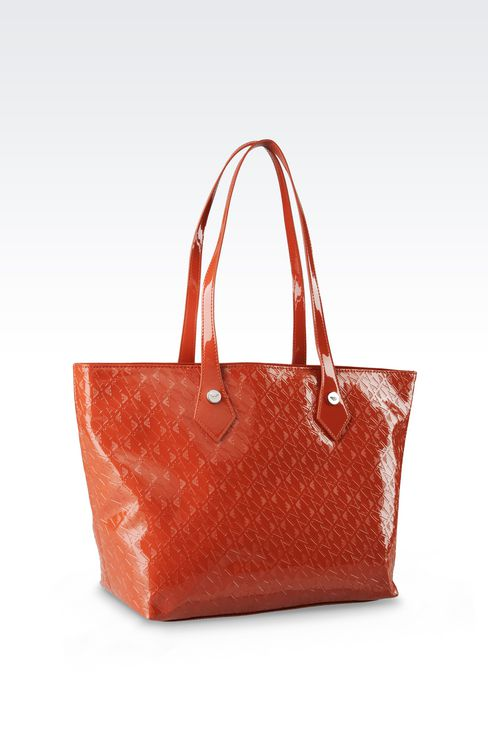 SHOPPING BAG IN PATENT FAUX LEATHER WITH ALL OVER LOGO: Shoulder bags Women by Armani - 2