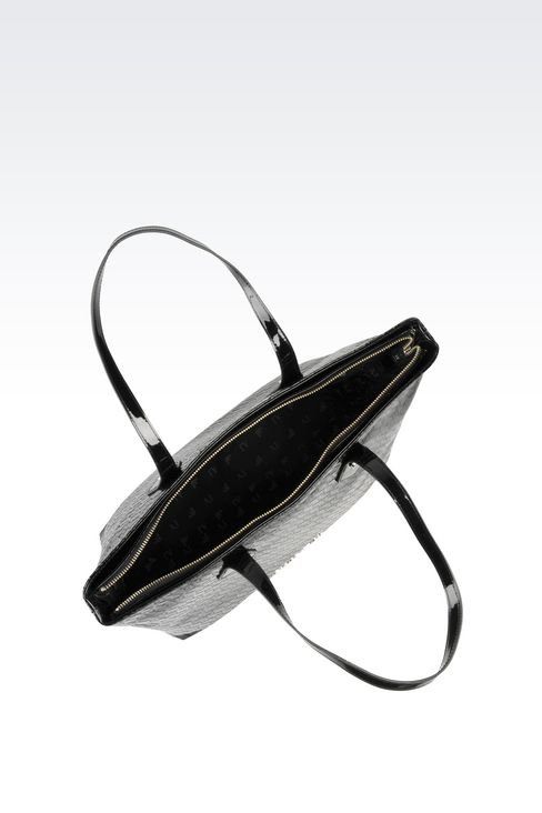 SHOPPING BAG IN PATENT FAUX LEATHER WITH ALL OVER LOGO: Shoulder bags Women by Armani - 3