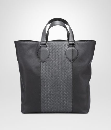 TOTE BAG IN NERO MEDIUM GREY NAPPA, INTRECCIATO DETAILS
