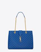 CLASSIC MONOGRAM SAINT LAURENT SHOPPING BAG IN Royal Blue GRAIN DE POUDRE TEXTURED MATELASSÉ LEATHER