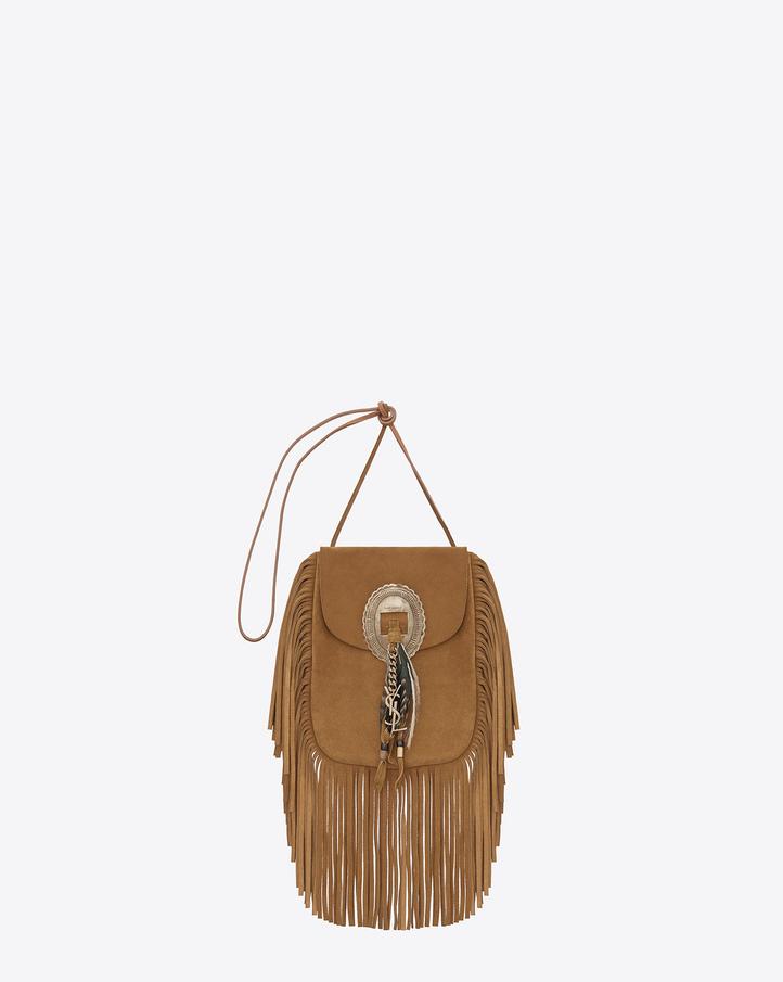 Saint Laurent Anita Fringed Flat Bag In Ocher Suede Leather | YSL.com