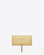 CLASSIC MONOGRAM SAINT LAURENT TASSEL CLUTCH color oro IN PITONE stampato metallizzato