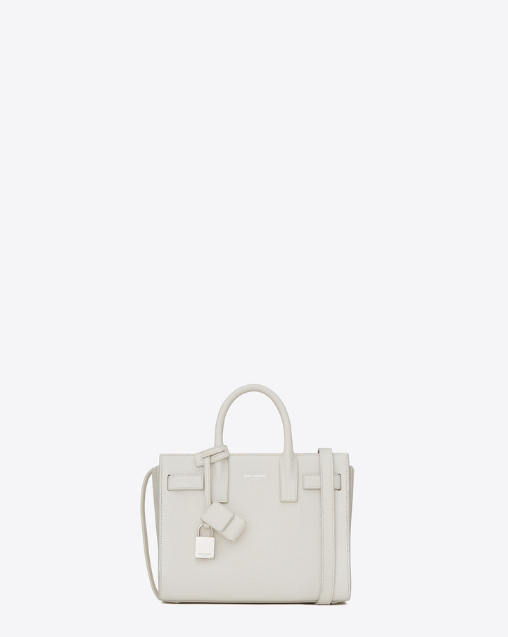 Saint Laurent CLASSIC Nano SAC DE JOUR BAG IN Dove White Grained ...