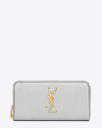 MONOGRAM SAINT LAURENT ZIP AROUND WALLET IN Silver Metallic Grained LEATHER