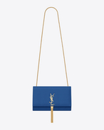 CLASSIC medium KATE MONOGRAM SAINT LAURENT TASSEL SATCHEL blu royal IN pelle