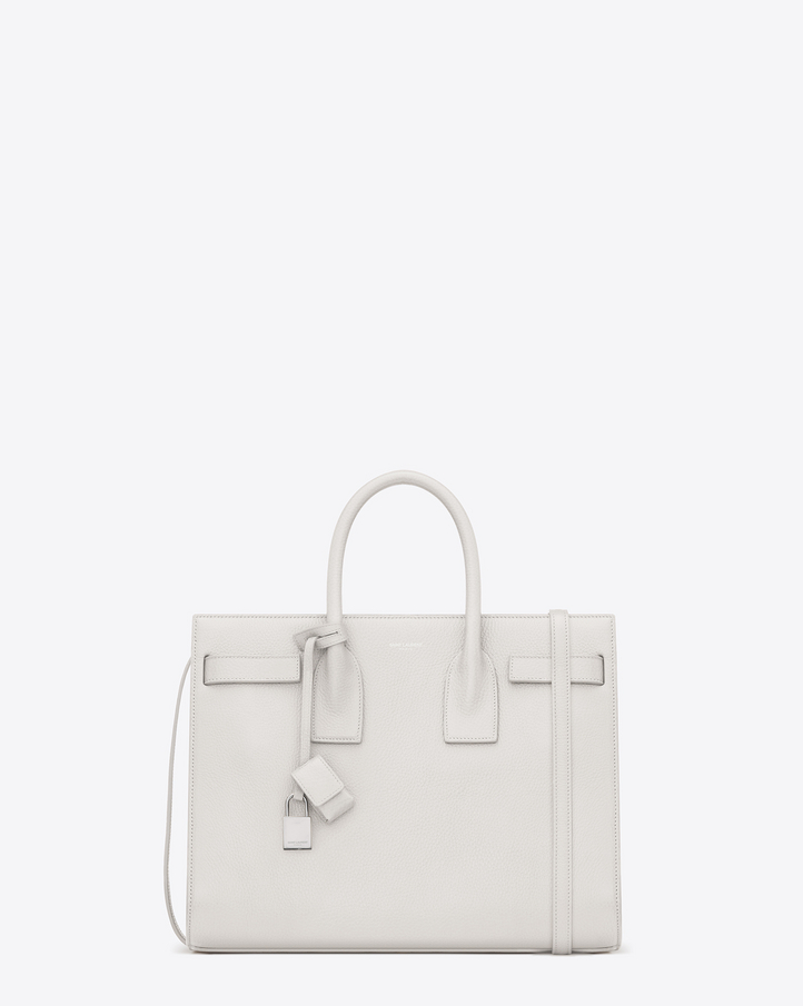 Saint Laurent CLASSIC SMALL SAC DE JOUR BAG IN Dove White Grained ...